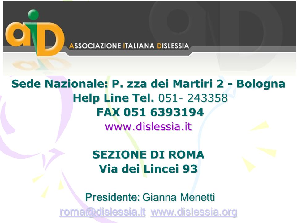 Sede Nazionale: P.zza dei Martiri 2 - Bologna Help Line Tel.