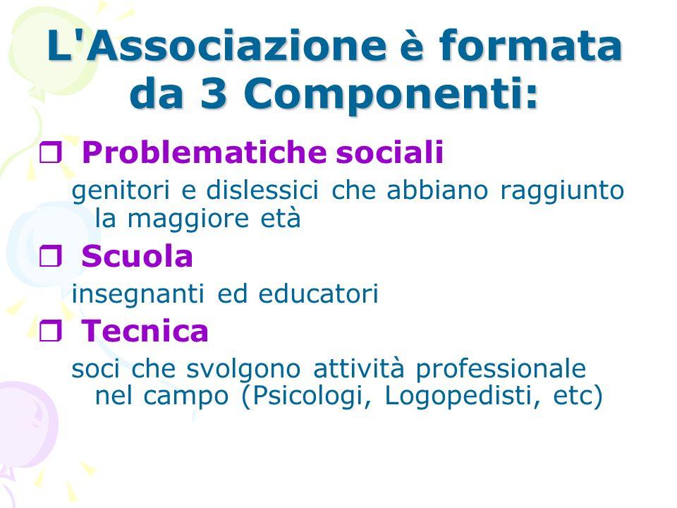 L Associazione è formata da 3 Componenti: Problematiche sociali genitori e dislessici che abbiano raggiunto la maggiore età Scuola insegnanti ed educatori Tecnica soci che svolgono attività professionale nel campo (Psicologi, Logopedisti, etc)