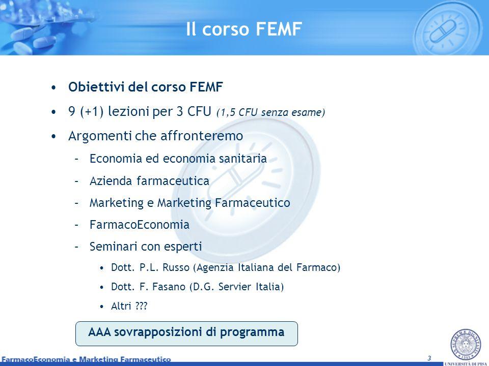 3 Il corso FEMF Obiettivi del corso FEMF 9 (+1) lezioni per 3 CFU (1,5 CFU senza esame) Argomenti che affronteremo –Economia ed economia sanitaria –Az
