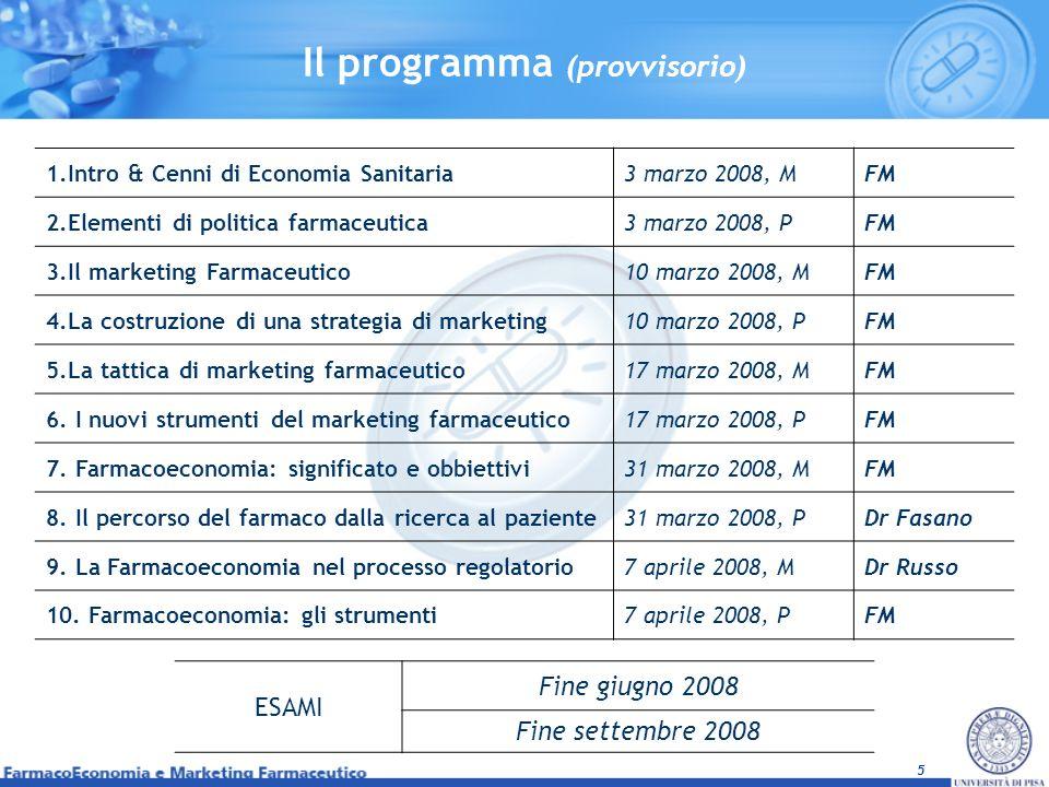 5 Il programma (provvisorio) 1.Intro & Cenni di Economia Sanitaria3 marzo 2008, MFM 2.Elementi di politica farmaceutica3 marzo 2008, PFM 3.Il marketin
