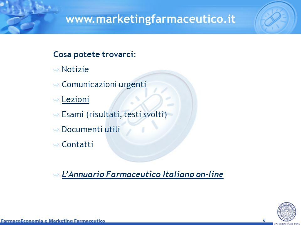8 www.marketingfarmaceutico.it Cosa potete trovarci: Notizie Comunicazioni urgenti Lezioni Esami (risultati, testi svolti) Documenti utili Contatti LA