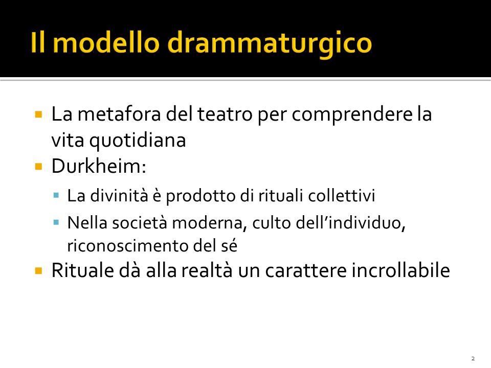 La metafora del teatro per comprendere la vita quotidiana Durkheim: La divinità è prodotto di rituali collettivi Nella società moderna, culto dellindi