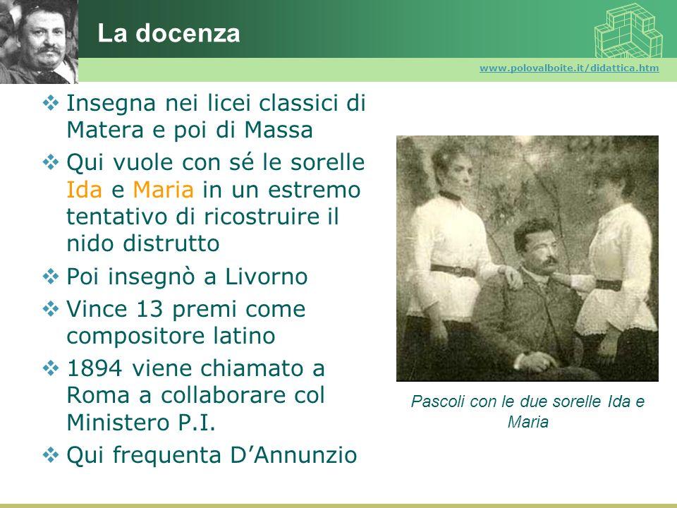 www.polovalboite.it/didattica.htm La docenza Insegna nei licei classici di Matera e poi di Massa Qui vuole con sé le sorelle Ida e Maria in un estremo