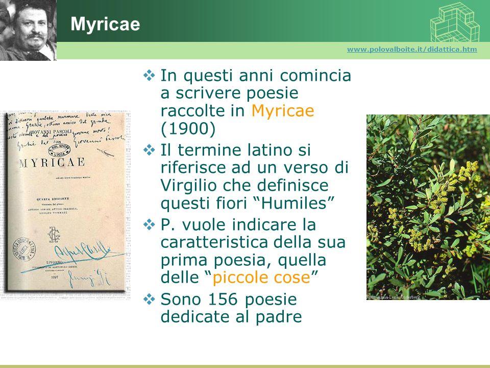 www.polovalboite.it/didattica.htm Myricae In questi anni comincia a scrivere poesie raccolte in Myricae (1900) Il termine latino si riferisce ad un ve