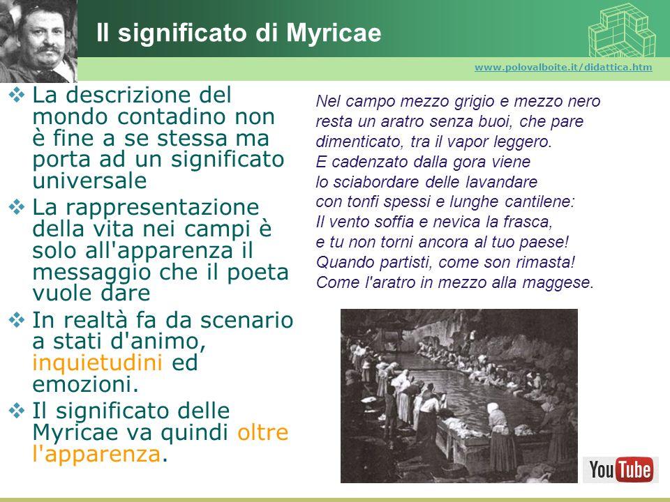 www.polovalboite.it/didattica.htm Il significato di Myricae La descrizione del mondo contadino non è fine a se stessa ma porta ad un significato unive