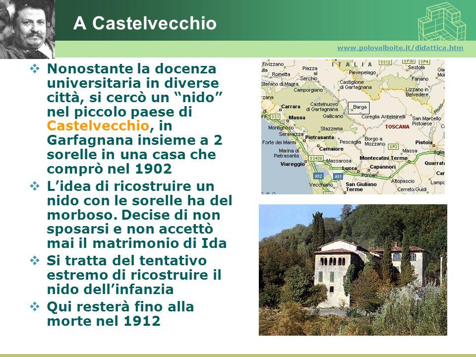 www.polovalboite.it/didattica.htm A Castelvecchio Nonostante la docenza universitaria in diverse città, si cercò un nido nel piccolo paese di Castelve