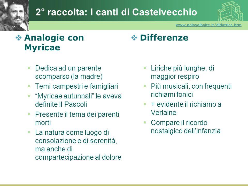 www.polovalboite.it/didattica.htm 2° raccolta: I canti di Castelvecchio Analogie con Myricae Dedica ad un parente scomparso (la madre) Temi campestri