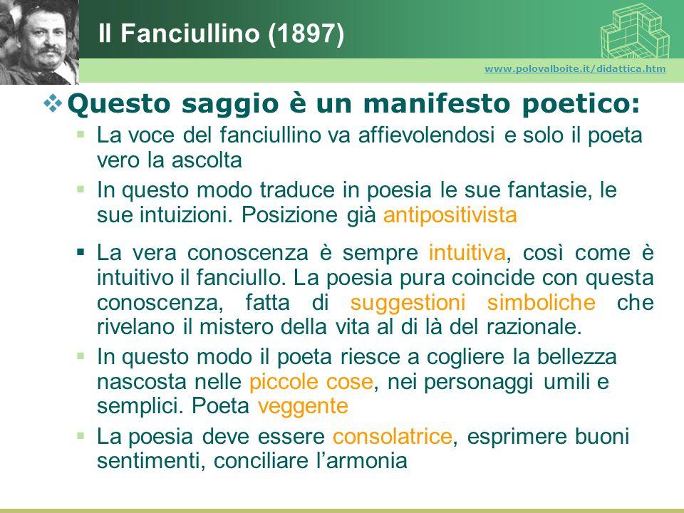 www.polovalboite.it/didattica.htm Il Fanciullino (1897) Questo saggio è un manifesto poetico: La voce del fanciullino va affievolendosi e solo il poet