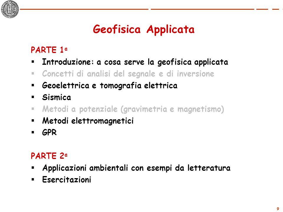 9 Geofisica Applicata PARTE 1 a Introduzione: a cosa serve la geofisica applicata Concetti di analisi del segnale e di inversione Geoelettrica e tomog