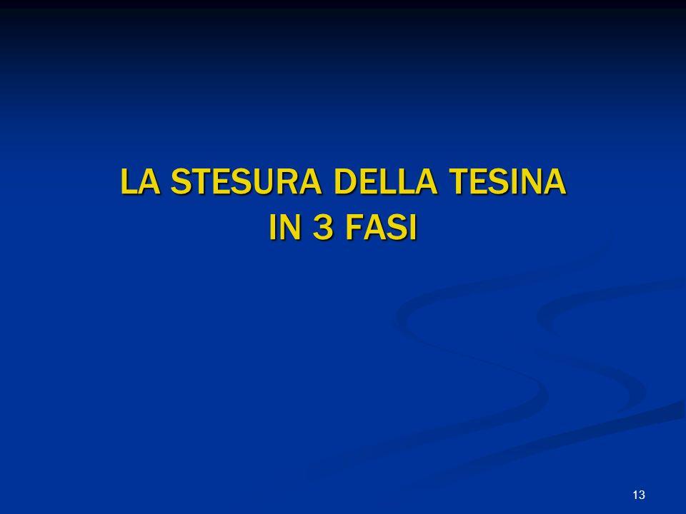 13 LA STESURA DELLA TESINA IN 3 FASI