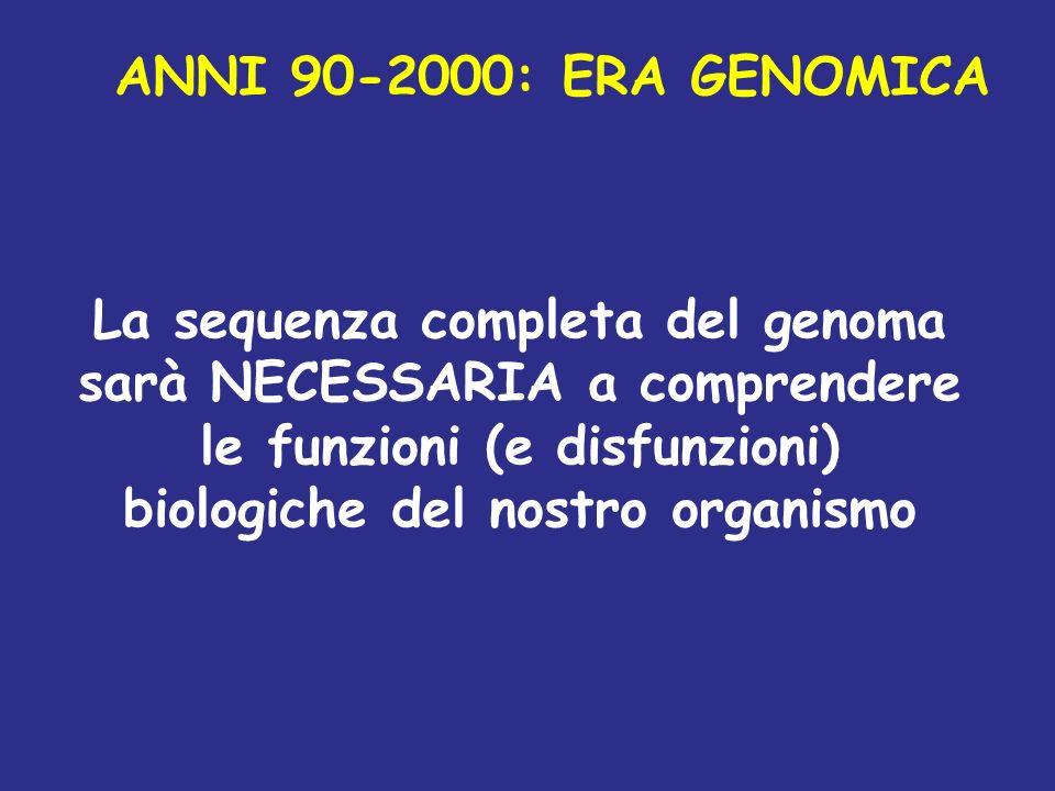 La sequenza completa del genoma sarà NECESSARIA a comprendere le funzioni (e disfunzioni) biologiche del nostro organismo ANNI 90-2000: ERA GENOMICA