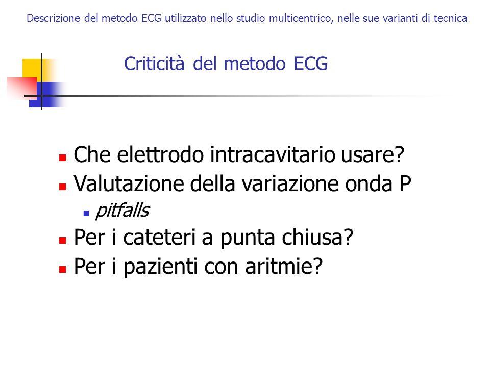 Descrizione del metodo ECG utilizzato nello studio multicentrico, nelle sue varianti di tecnica Criticità del metodo ECG Che elettrodo intracavitario