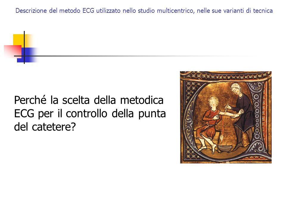 Perché la scelta della metodica ECG per il controllo della punta del catetere? Descrizione del metodo ECG utilizzato nello studio multicentrico, nelle