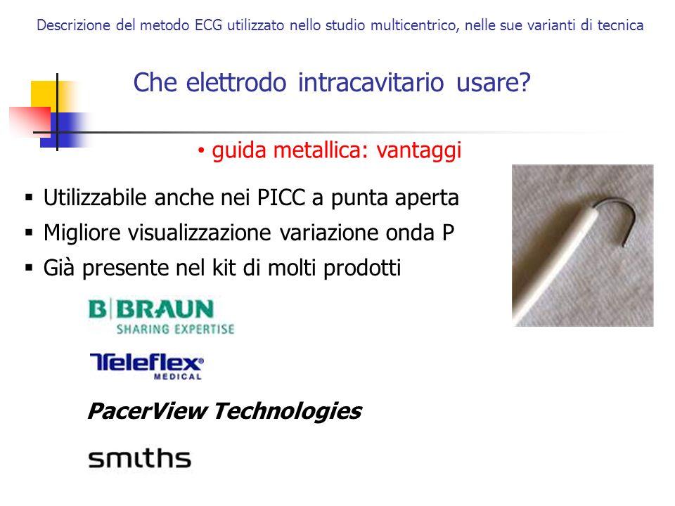 Che elettrodo intracavitario usare? Descrizione del metodo ECG utilizzato nello studio multicentrico, nelle sue varianti di tecnica Utilizzabile anche
