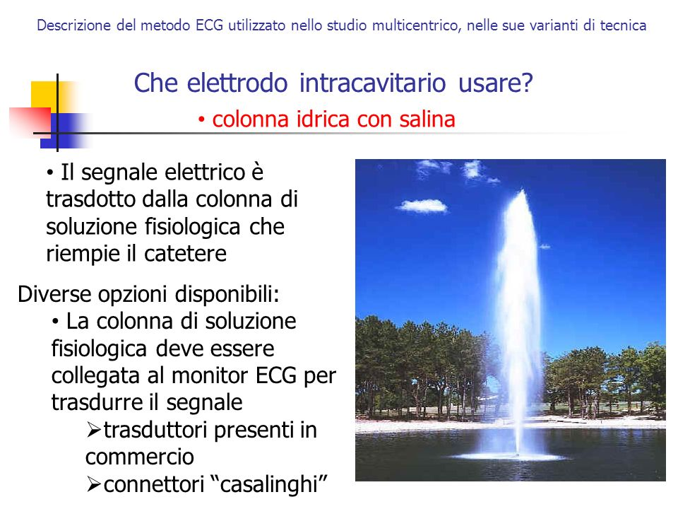 Che elettrodo intracavitario usare? Descrizione del metodo ECG utilizzato nello studio multicentrico, nelle sue varianti di tecnica colonna idrica con
