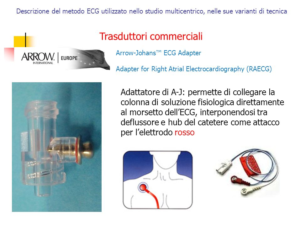 Descrizione del metodo ECG utilizzato nello studio multicentrico, nelle sue varianti di tecnica Trasduttori commerciali Arrow-Johans ECG Adapter Adapt