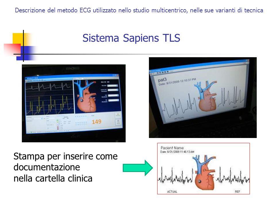 Sistema Sapiens TLS Descrizione del metodo ECG utilizzato nello studio multicentrico, nelle sue varianti di tecnica Stampa per inserire come documenta