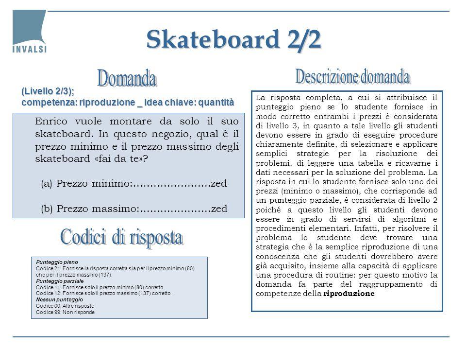 Skateboard 2/2 La risposta completa, a cui si attribuisce il punteggio pieno se lo studente fornisce in modo corretto entrambi i prezzi è considerata