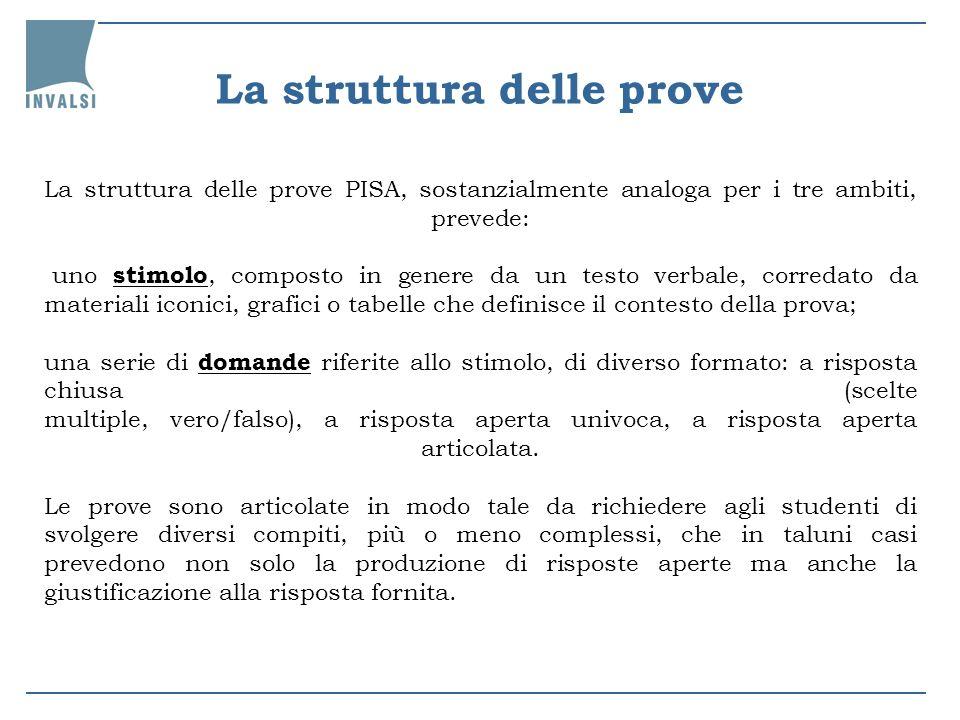 La struttura delle prove PISA, sostanzialmente analoga per i tre ambiti, prevede: uno stimolo, composto in genere da un testo verbale, corredato da ma