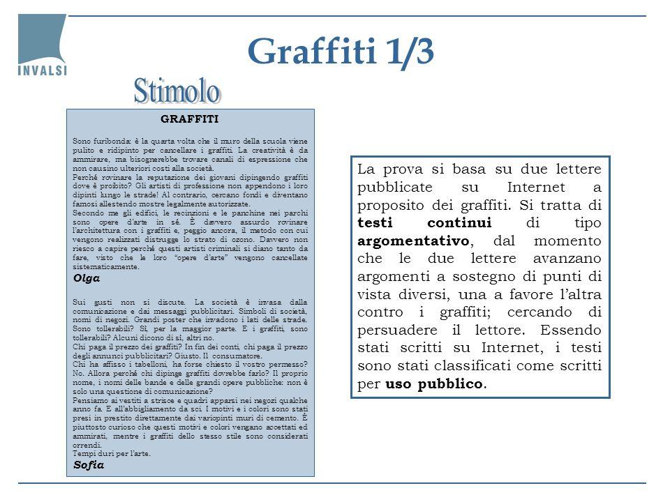 Graffiti 2/3 Il quesito richiede che il lettore espliciti una relazione lasciata implicita nel testo, quella tra i graffiti e la pubblicità, chiarendo che Sofia sostiene che la pubblicità è una forma di graffiti, per quanto legale, oppure evidenziando che il riferimento alla pubblicità è una strategia per difendere i graffiti.
