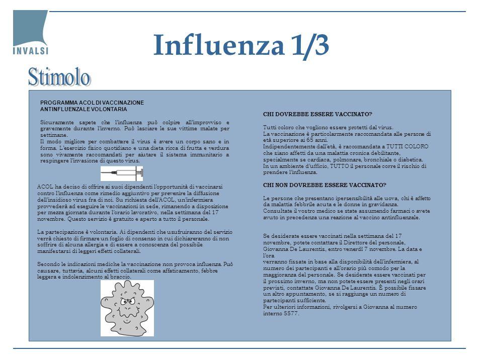 Influenza 1/3 ACOL ha deciso di offrire ai suoi dipendenti lopportunità di vaccinarsi contro linfluenza come rimedio aggiuntivo per prevenire la diffu