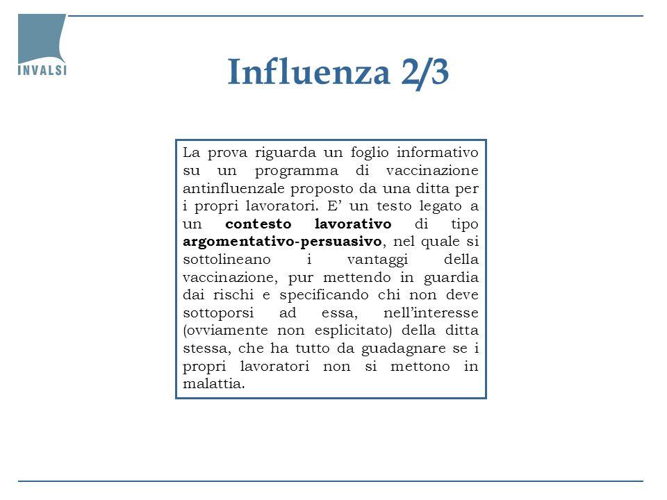 La prova riguarda un foglio informativo su un programma di vaccinazione antinfluenzale proposto da una ditta per i propri lavoratori. E un testo legat