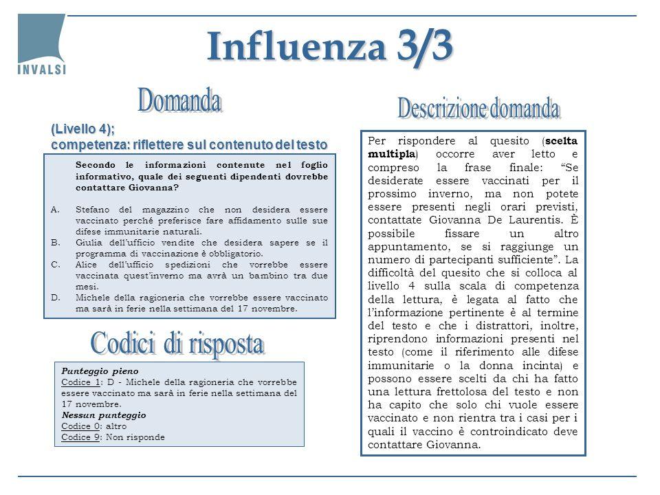 Influenza 3/3 Secondo le informazioni contenute nel foglio informativo, quale dei seguenti dipendenti dovrebbe contattare Giovanna? A.Stefano del maga