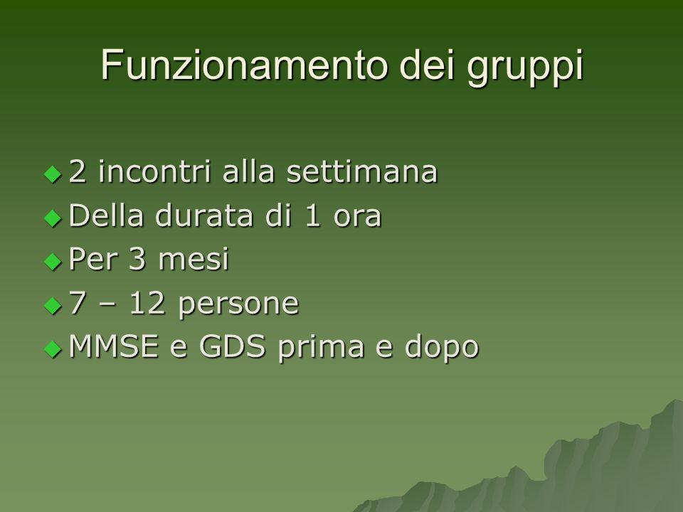 Funzionamento dei gruppi 2 incontri alla settimana 2 incontri alla settimana Della durata di 1 ora Della durata di 1 ora Per 3 mesi Per 3 mesi 7 – 12