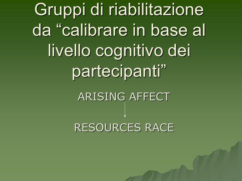 Gruppi di riabilitazione da calibrare in base al livello cognitivo dei partecipanti ARISING AFFECT RESOURCES RACE