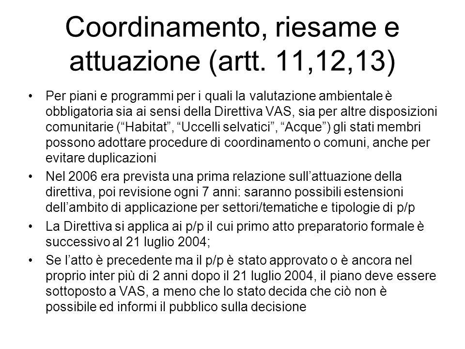 Coordinamento, riesame e attuazione (artt. 11,12,13) Per piani e programmi per i quali la valutazione ambientale è obbligatoria sia ai sensi della Dir