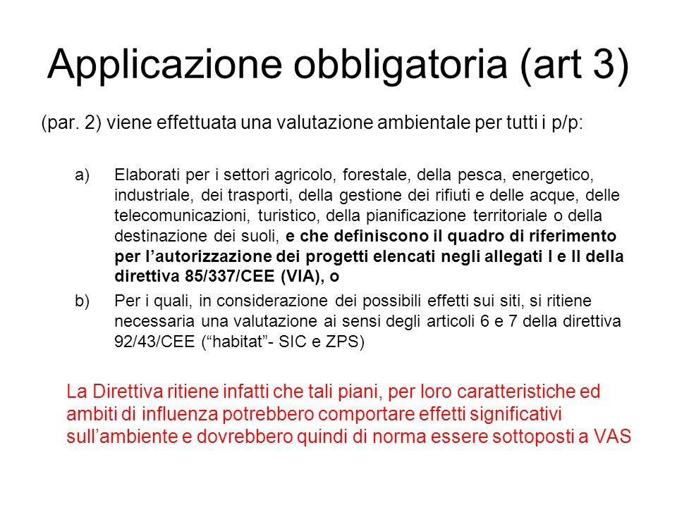 Applicazione obbligatoria (art 3) (par. 2) viene effettuata una valutazione ambientale per tutti i p/p: a)Elaborati per i settori agricolo, forestale,