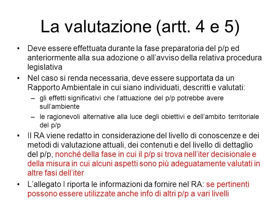 La valutazione (artt. 4 e 5) Deve essere effettuata durante la fase preparatoria del p/p ed anteriormente alla sua adozione o allavviso della relativa
