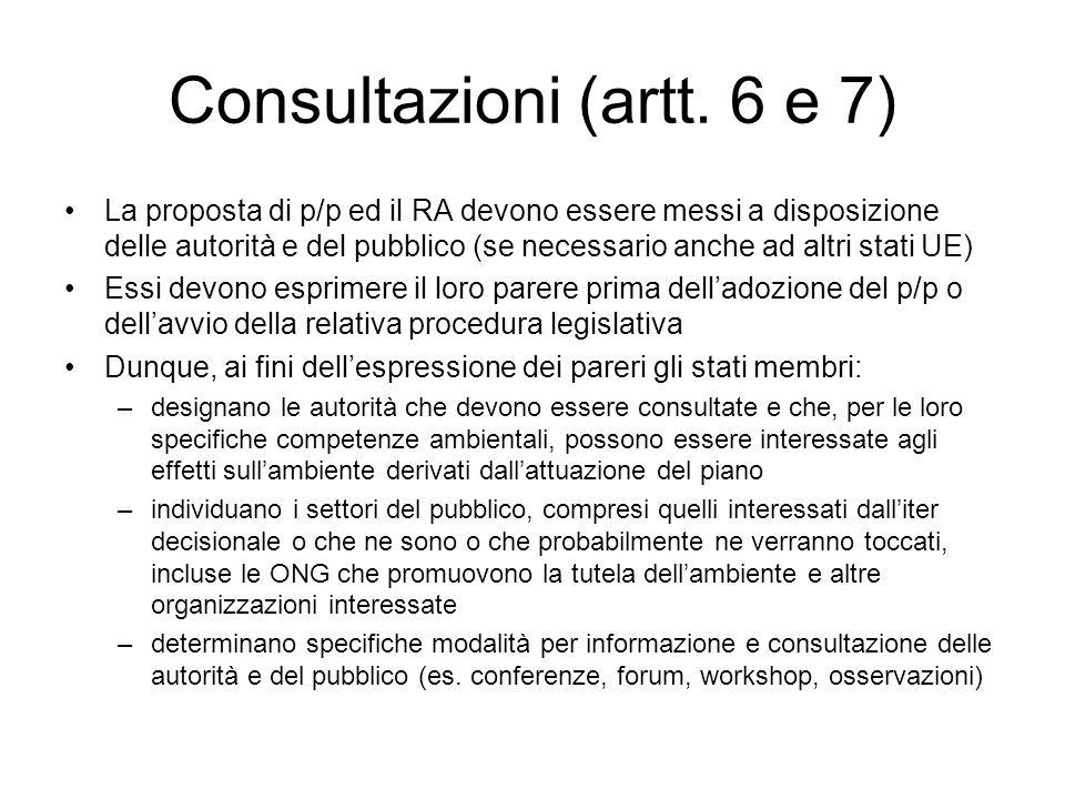 Consultazioni (artt. 6 e 7) La proposta di p/p ed il RA devono essere messi a disposizione delle autorità e del pubblico (se necessario anche ad altri