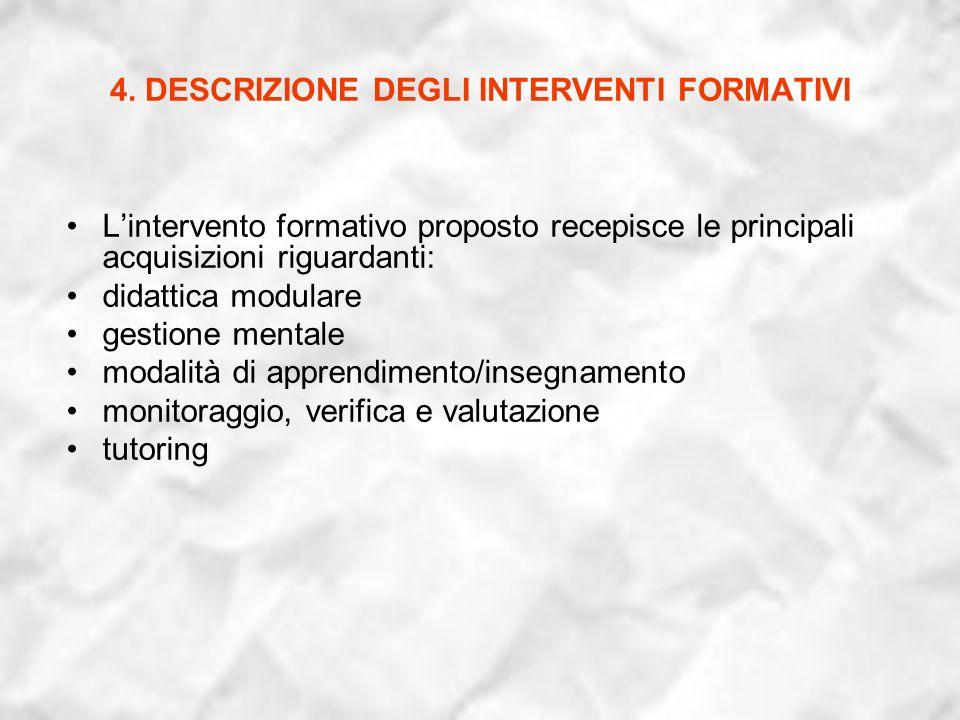 4. DESCRIZIONE DEGLI INTERVENTI FORMATIVI Lintervento formativo proposto recepisce le principali acquisizioni riguardanti: didattica modulare gestione