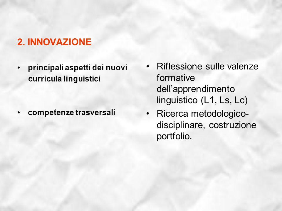 2. INNOVAZIONE principali aspetti dei nuovi curricula linguistici competenze trasversali Riflessione sulle valenze formative dellapprendimento linguis