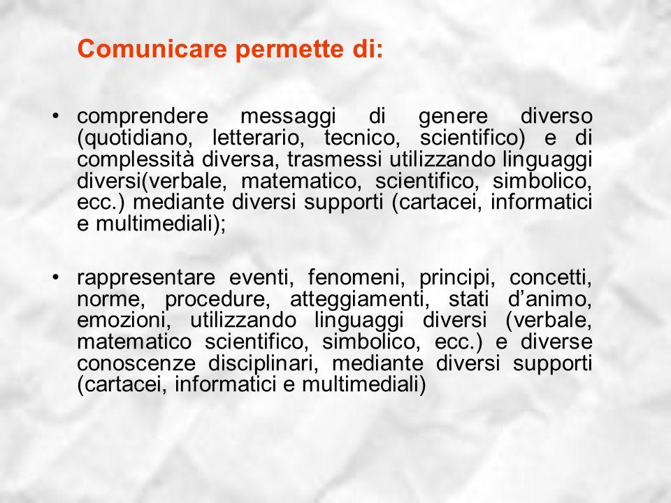 Comunicare permette di: comprendere messaggi di genere diverso (quotidiano, letterario, tecnico, scientifico) e di complessità diversa, trasmessi util