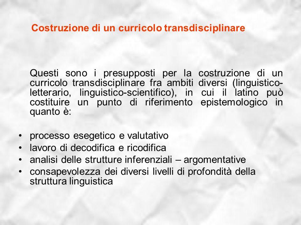 Costruzione di un curricolo transdisciplinare Questi sono i presupposti per la costruzione di un curricolo transdisciplinare fra ambiti diversi (lingu
