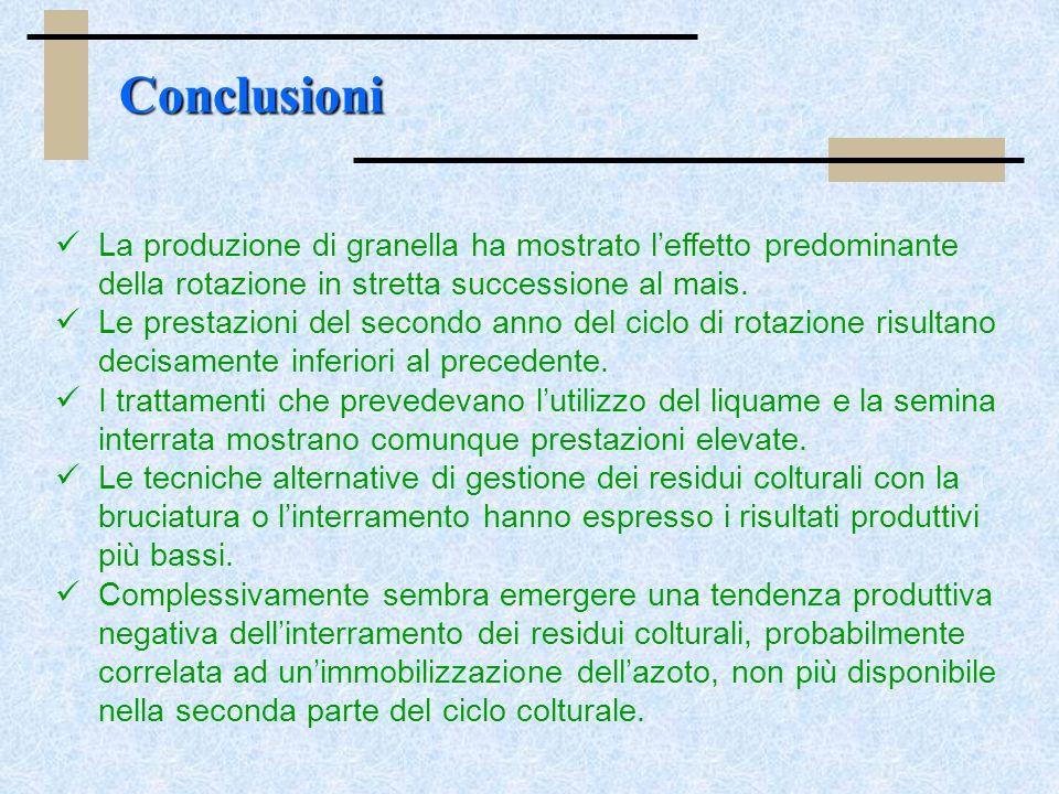 La produzione di granella ha mostrato leffetto predominante della rotazione in stretta successione al mais.