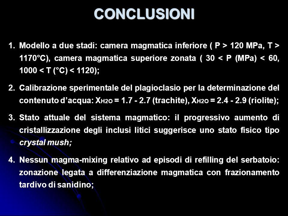 CONCLUSIONI 1.Modello a due stadi: camera magmatica inferiore ( P > 120 MPa, T > 1170°C), camera magmatica superiore zonata ( 30 < P (MPa) < 60, 1000