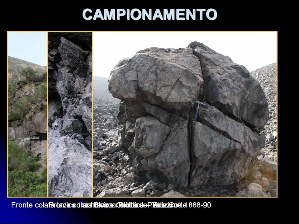 CAMPIONAMENTO Fronte colata lavica trachitica – Grotte dei PalizziFronte colata lavica riolitica – Pietre CotteBlocco Riolitico – Eruzione 1888-90