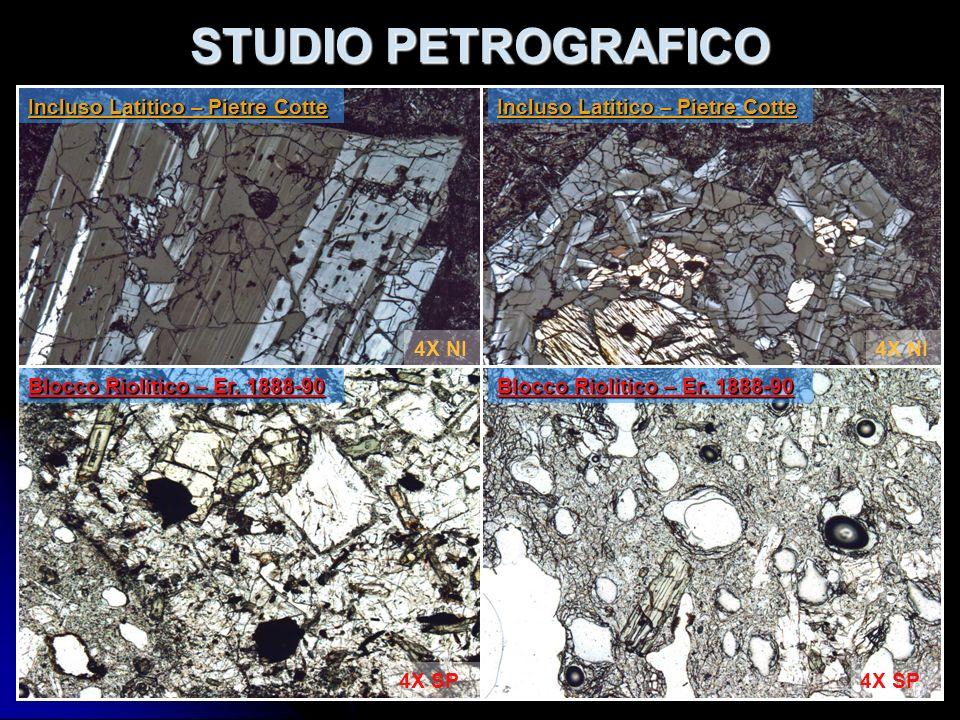 STUDIO PETROGRAFICO Incluso Latitico – Pietre Cotte Blocco Riolitico – Er. 1888-90 4X SP 4X NI Incluso Latitico – Pietre Cotte Blocco Riolitico – Er.