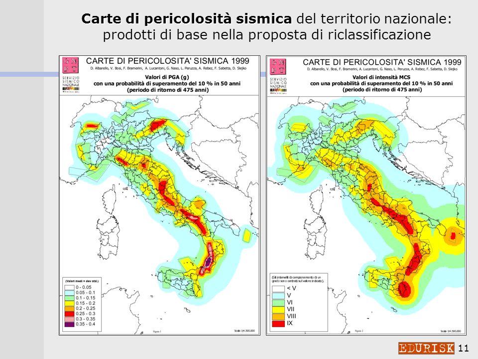 10 Friuli, 1976 Irpinia, 1980 Irpinia, 1930 Garfagnana, 1920 Messina, 1908 G.S.Eufemia, 1905 Fucino, 1915 Belice, 1968 Data di ingresso nella classificazione sismica LA STORIA DELLA CLASSIFICAZIONE comuni classificati dopo i forti terremoti 7 Ms>6.5 in 100 anni 1 Ms>6.5 ogni 15 anni
