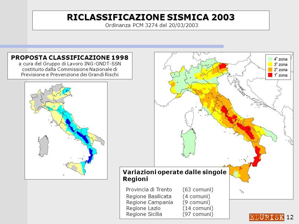 11 Carte di pericolosità sismica Carte di pericolosità sismica del territorio nazionale: prodotti di base nella proposta di riclassificazione