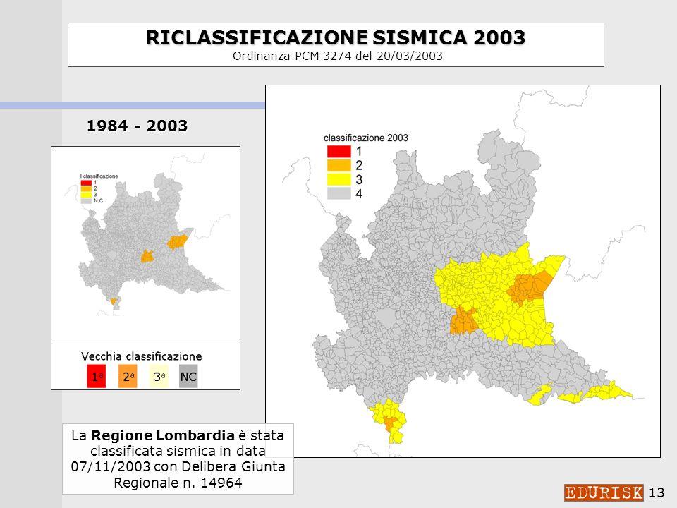 12 PROPOSTA CLASSIFICAZIONE 1998 a cura del Gruppo di Lavoro ING-GNDT-SSN costituito dalla Commissione Nazionale di Previsione e Prevenzione dei Grandi Rischi RICLASSIFICAZIONE SISMICA 2003 RICLASSIFICAZIONE SISMICA 2003 Ordinanza PCM 3274 del 20/03/2003 Variazioni operate dalle singole Regioni Provincia di Trento (63 comuni) Regione Basilicata (4 comuni) Regione Campania (9 comuni) Regione Lazio (14 comuni) Regione Sicilia (97 comuni)
