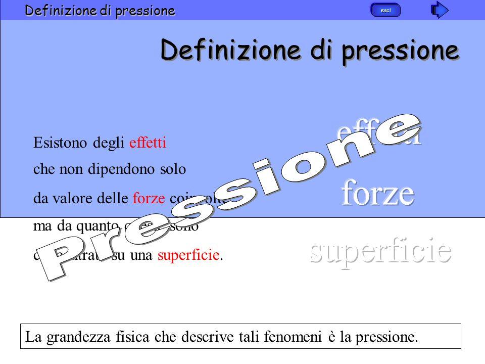 esci Definizione di pressione La grandezza fisica che descrive tali fenomeni è la pressione. Definizione di pressione ma da quanto queste sono concent