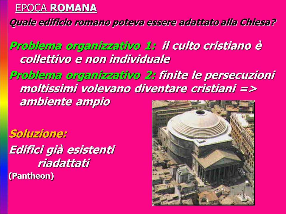 EPOCA ROMANA Quale edificio romano poteva essere adattato alla Chiesa? Problema organizzativo 1: il culto cristiano è collettivo e non individuale Pro