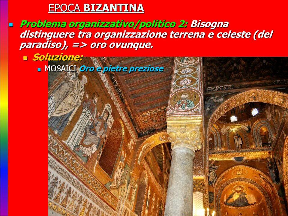 EPOCA BIZANTINA Problema organizzativo/politico 2: Bisogna distinguere tra organizzazione terrena e celeste (del paradiso), => oro ovunque. Problema o