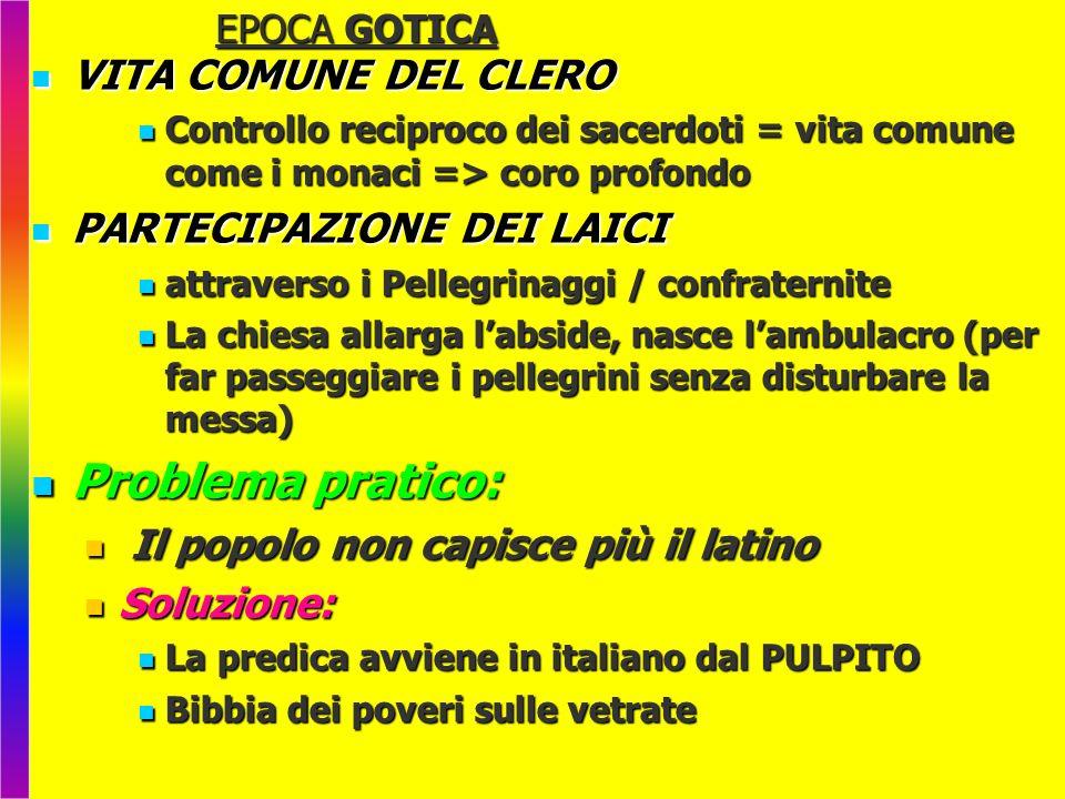 EPOCA GOTICA VITA COMUNE DEL CLERO VITA COMUNE DEL CLERO Controllo reciproco dei sacerdoti = vita comune come i monaci => coro profondo Controllo reci