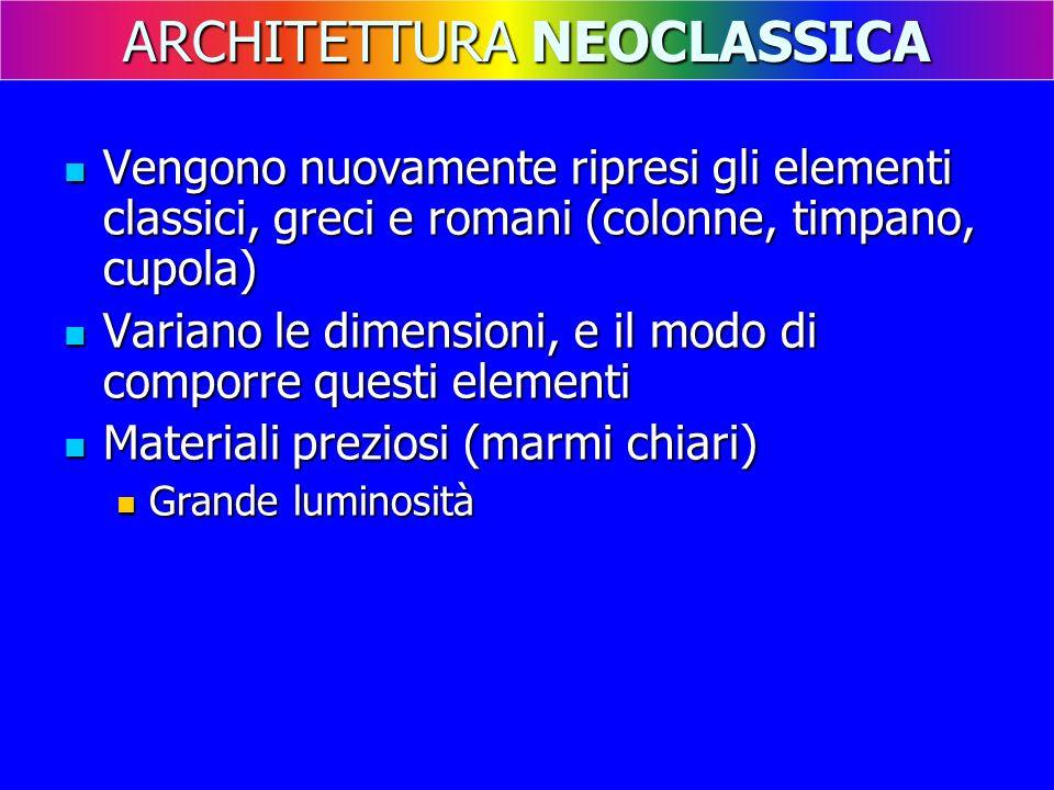 Vengono nuovamente ripresi gli elementi classici, greci e romani (colonne, timpano, cupola) Vengono nuovamente ripresi gli elementi classici, greci e