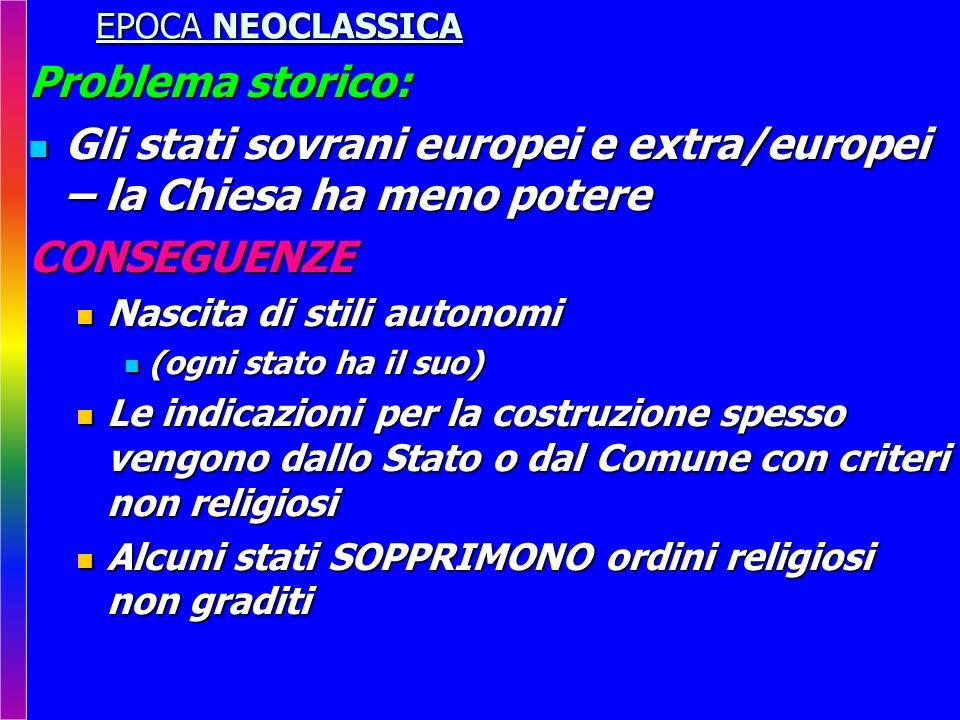 EPOCA NEOCLASSICA Problema storico: Gli stati sovrani europei e extra/europei – la Chiesa ha meno potere Gli stati sovrani europei e extra/europei – l